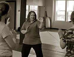 Joanne Factor teaching self-defense