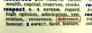 Dictionary definition - expecting respect as deference